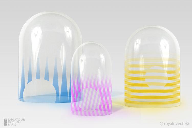 Royal river design design glass dome for Cloche verre decorative
